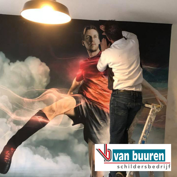 Van Buuren tienerkamer glasvlies fotobehang met voetballer
