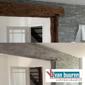 Van Buuren optisch wegwerken houten balk via schilderwerk (VOOR en NA)