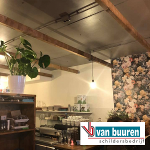 Van Buuren spuitwerk plafond Kaneel & Kruimels, Ermelo