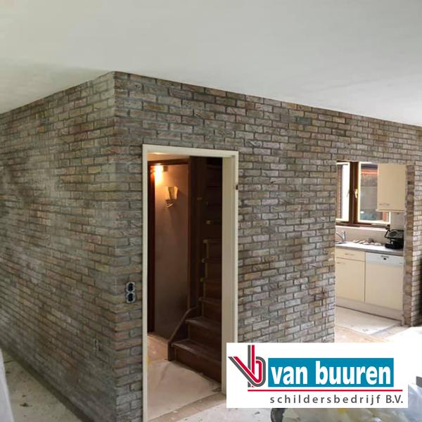 schilderen woonhuis Ermelo (mix acryl fixeermiddel met midden grijze latex op schoonmetselwerk)